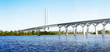High quality concept art of the Champlain bridge as it travels away from the viewer into the distance